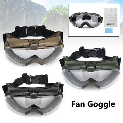 Airsoft Protective Glasses Goggles Tactical Fan Anti-fog Dust Design + Cloth Box