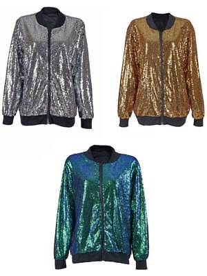 Adult 70s 80s Shiny Glitter Sequin Bomber Jacket Coat Disco Festival Fancy Dress