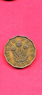 Great Britain Gb Uk Km849 1937 Vf-Very Fine-Nice Old Wwii Era Used 3 Pence Coin