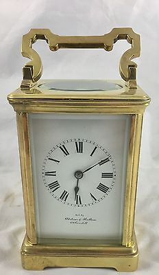 Large Brass Carriage Clock Striking on Gong By Alstons & Hallam 69 Cornhill