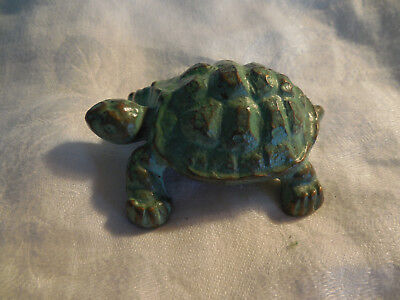 "Solid brass with green finish turtle figure 1.5"" tall"