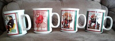 Set - 4 Norman Rockwell Mugs Cups Christmas Westwood Korea Saturday Evening Post