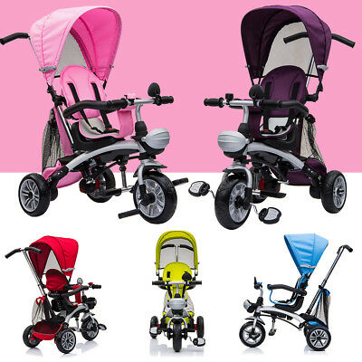 Kids 4 in 1 Trike Tricycle 3 Wheel Stroller Parent Push Bar Baby Buggy Ride Bike