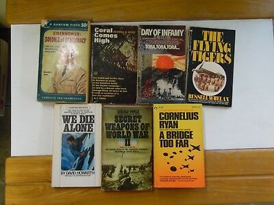 Large Lot of 7 Non Fiction WW2 related Paperback Books FREE SHIPPING vintage