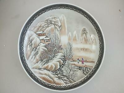 A Chinese Porcelain Republic Period Dish With Snowy Landscape Scene 20Th Century