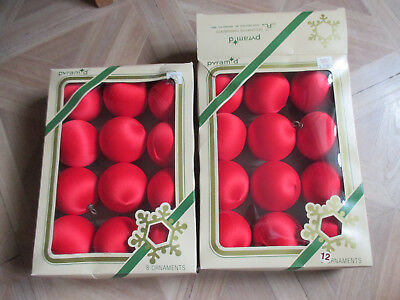 "Vintage Lot 24 Pyramid Satin Christmas Ornament Balls Red 2 1/4"" ACROSS"