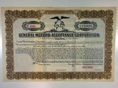 General Motors Acceptance Corp., 1919 $25,000 Specimen Bond Automobile Financing