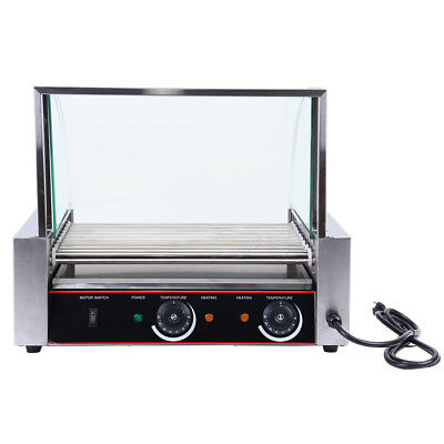 Commercial 24 Hot Dog 9 Roller Grilling Machine Stainless Steel 1260w w/ Cover