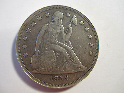 1859-O beautiful dug civil war camp seated silver dollar AS SHOWN *3568