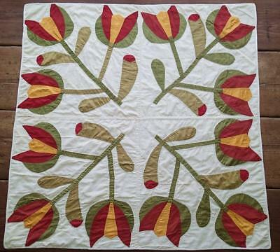 Antique Applique Red Cheedar & Green Tulip Table, Wall  or Crib QUILT 33x33