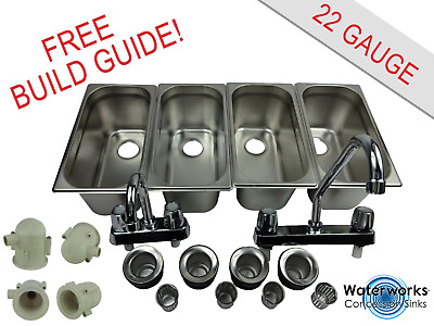 4 Compartment Sink Set With Traps & Hand Washing Concession Food Trailer Stand