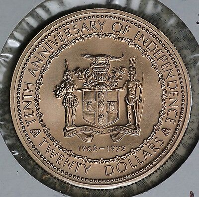 1972 Uncirculated Jamaica $20 Gold Coin!! 10th Anniversary of Independence