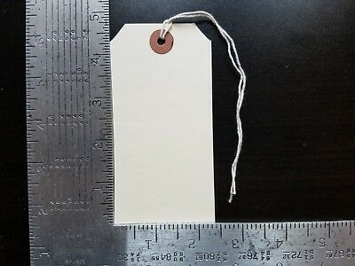 "100 Manila Inventory Shipping Hang Tags Size #5 With String 4 3/4"" X 2 3/8"""