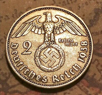 the rare '38-A SILVER Ww2 COIN German World War 2 Nazi Military Old Antique US