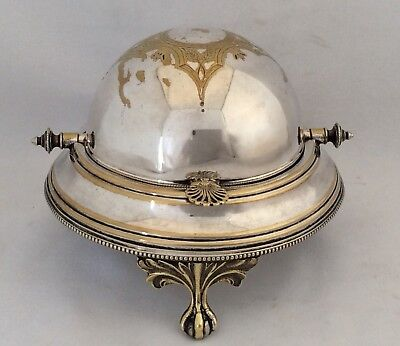 Rare 19th Century Silver Plated Footed Roll Top Caviar/Butter Dish & Glass Liner