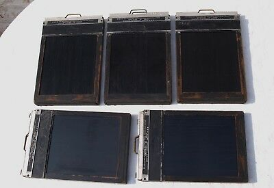 5x MPP 5x4 4x5 CUT FILM HOLDERS WITH DOUBLE DARK SLIDES - AS IS