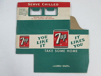 "1950's, Unused, 7up Cardboard, 6 Bottle Carton, ""You Like It It Likes You"""