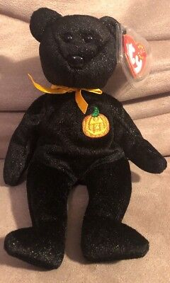 Ty Beanie Baby Haunt Halloween Black Bear 2000 Brand New, MINT w/Mint Tags Bin K
