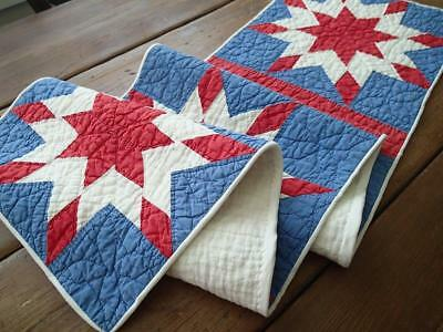 "STAR SPANGLED! Vintage Patriotic Americana Red White & Blue QUILT RUNNER 61""x13"""