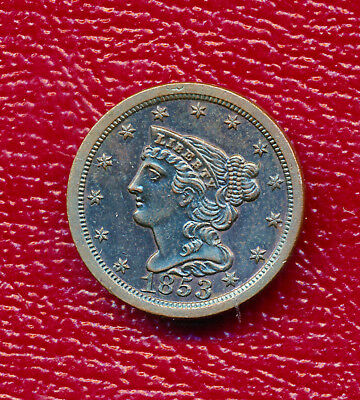 1853 Braided Hair Half Cent **fabulous Lightly Circulated** Free Shipping!