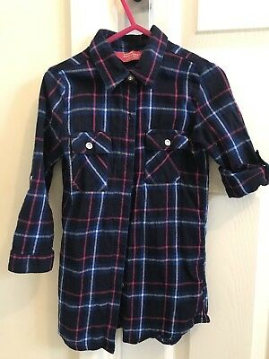 Girls Age 3-4 Years Shirt Top, Shirt Dress Checked Long Sleeve