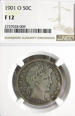 1901-O Liberty Head Barber Half Dollar 50C NGC F12 Attractive Coin [009] *F*