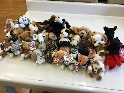 Lot of 30 Ty Beanie Babies, Cats and Dogs, New with Tags & Protectors