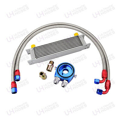 10 Row AN10 Universal Oil Cooler Kit + Fitting Kit + Sandwich + Braided Hose