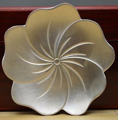 2.4 Oz Purity 999 Pure Silver Solid Hand Made Lotus Writing-Brush Washer Signed