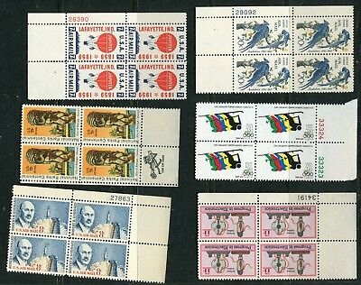 Early U S Air Plate Blocks 6 Different  Mint Ognh