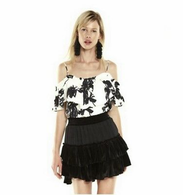 2ad8550f16fbd7 MISA MABEL OFF The Shoulder Floral Top Black And White Sz M 858F ...