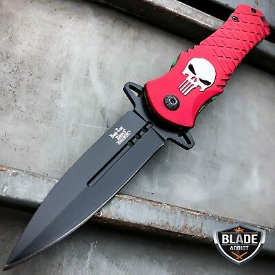 DARK SIDE BLADES Skull Punisher Red Tactical Spring Assisted OPEN Pocket Knife-a