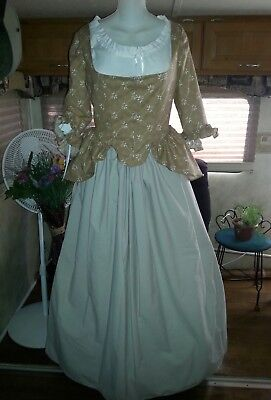 18th Century Historical Reproduction Polonaise Gown and Petticoat size 36 Bust