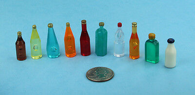NICE Set of 10 Assorted Dollhouse Miniature Plastic Liquor Bottles #WCKA313B