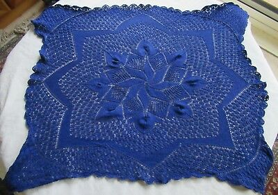 Vintage HAND-CROCHETED SMALL SQUARE TABLECLOTH Royal Blue Cotton Pinhole design