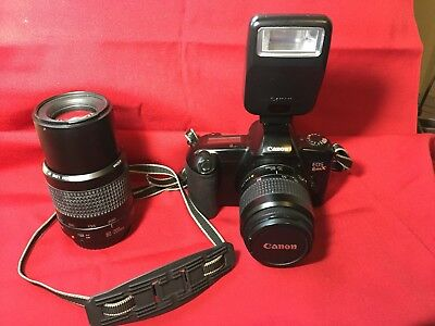 Canon EOS Rebel XS 35mm SLR Film Camera with 2 Lens, Flash, and Case