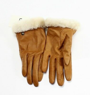 UGG NEW Brown Chestnut Genuine Leather Size Medium M Women's Gloves $110 #293