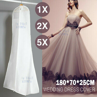 White Wedding Dress Bridal Gown Garment Bag Dustproof Cover Storage Extra Large