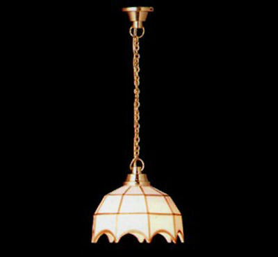 Dollhouse Miniature 12 volt White Tiffany Style Hanging Ceiling Light #MW786A15