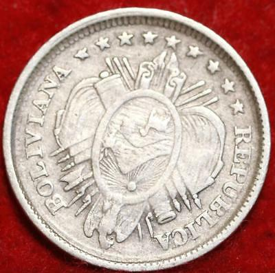 1893 PTS Bolivia 20 Centavos Silver Foreign Coin