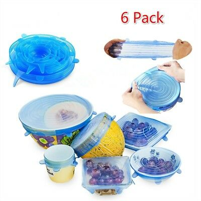 6pcs Reusable Silicone Wrap Bowl Seal Cover Stretch Lid Keep Food Fresh BPA Free