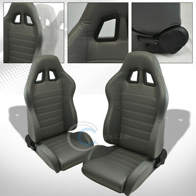 Sp Sport Gray Stitch Pvc Leather Reclinable Racing Bucket Seats+Sliders L+R C41