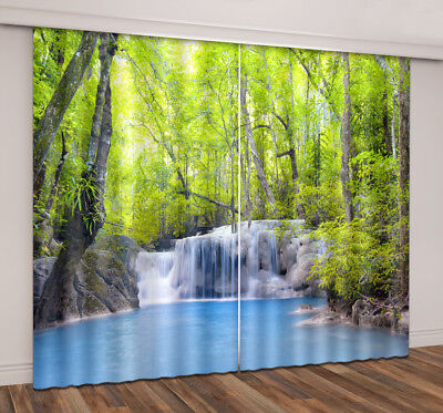 3D Waterfall Forest Blockout Printing 2Panels Mural Curtain Drapes Fabric Window