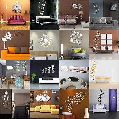 Modern Mirror Style Removable Decal Art Mural Wall Sticker Home Room DIY ~