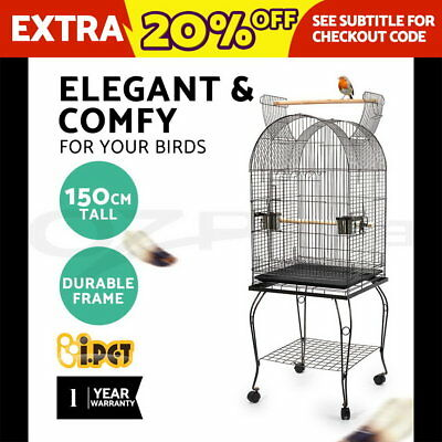 Open Dome Top Parrot Pet Aviary Bird Cage +Wheels+Stand