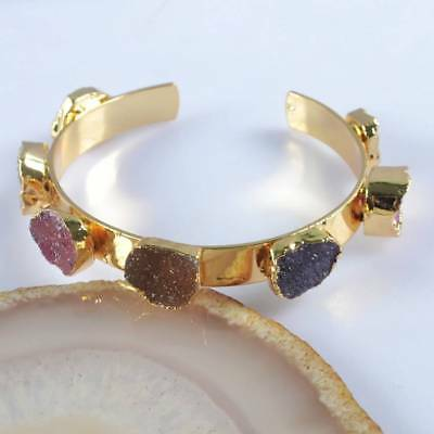 Hot Pink & Purple & Natural Agate Druzy Geode Bangle Gold Plated T063890