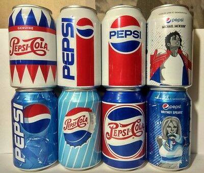 PEPSI COLA New set of 8 cans 330ml.from Russia VINTAGE Limited Edition 2018