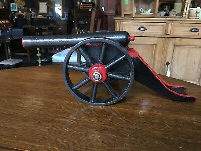 Antique 19th Century Metal And Wooden Painted Black And Red Table Cannon Model