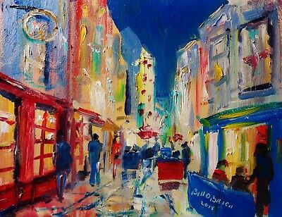 Original Oil Painting, Galway Streets Impasto Nightlife. Irish Art. Bill O'Brien