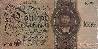 1924 1000 Reichsmark Germany Currency German Banknote Note Money Bank Bill Cash